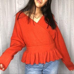 Sweaters - Unbranded peplum open back sweater